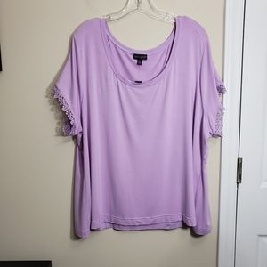 The Limited Lace Cap Sleeve Scoop Neck Tee